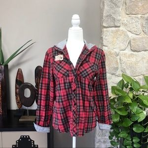 Unisex Red Plaid Flannel Hooded Casual Top S